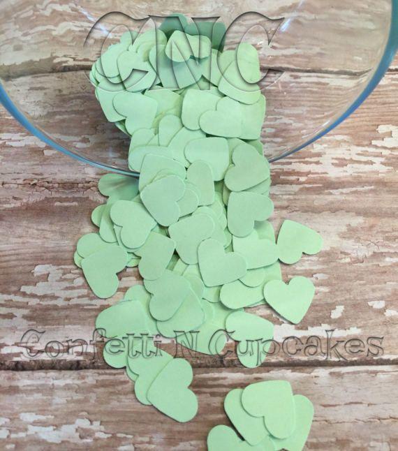 Mint Green Heart Confetti Baby Shower Decor Wedding Reception