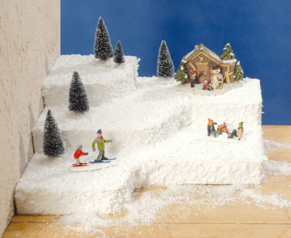Lichthauser Styropor Podeste Mit Iris Glanzschnee Christmas Village Display Christmas Villages Holiday Projects