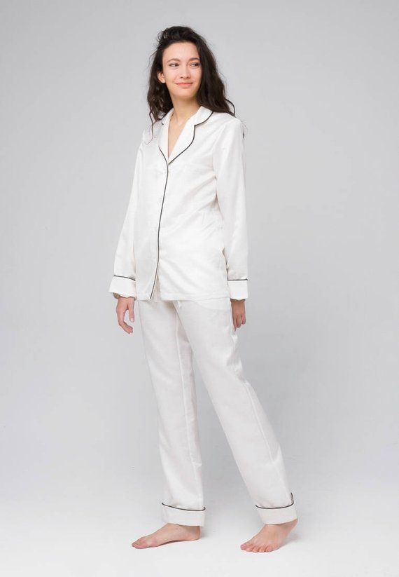 100% Silk pajama set Natural silk long pajamas Luxury silk pyjamas Silk  loungewear White pajamas Sil 560e8fdbf
