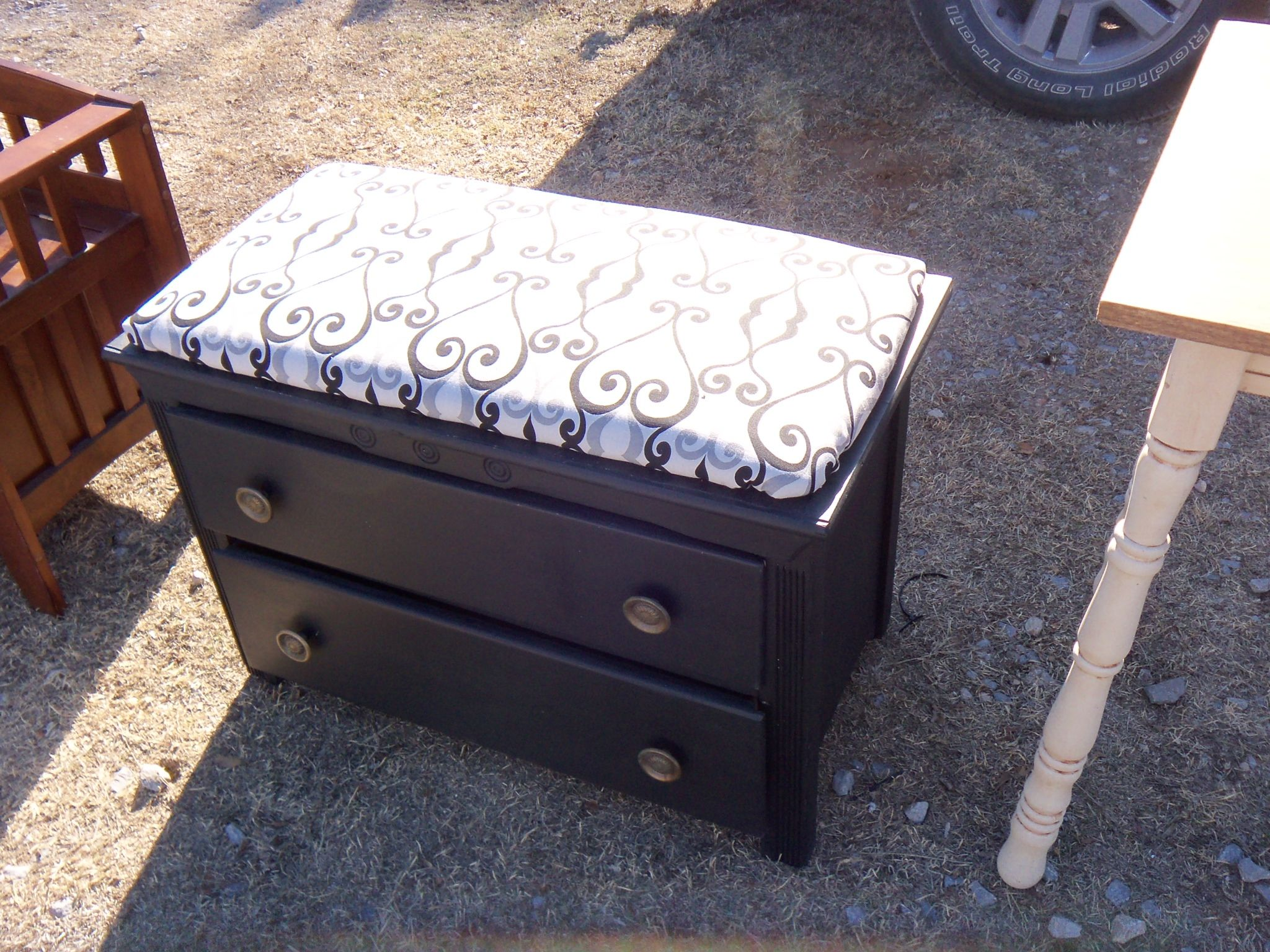 Astonishing Old Dresser Converted To A Comfy Bench Seat With Storage Caraccident5 Cool Chair Designs And Ideas Caraccident5Info