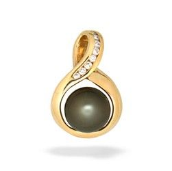 Yellow Gold Eternity Pendant with Tahitian Pearl and Diamond