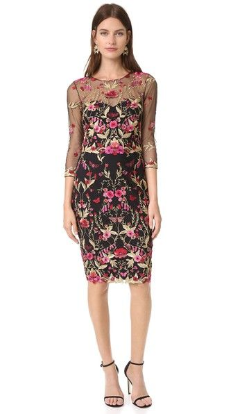 Marchesa Notte Threadwork Embroidered Cocktail