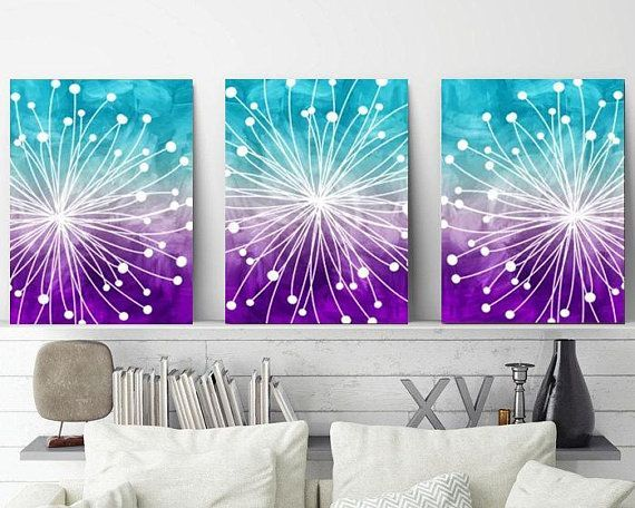 WATERCOLOR Wall Art, Watercolor Dandelion Art, Aqua Teal Purple, Bedroom Wall Decor, CANVAS or Prints, Dandelion Bathroom Decor, Set of 3 is part of Teal Purple bedroom - 204991604 The purchase of any item from TRM Design does not transfer rights to sell, copy, or distribute in any way  www trmdesign store Wall Art, Nursery Wall Art, Canvas, Canvas Wall Art, Nursery Prints, Nursery Canvas, Kids Room Decor, Children Room Decor, Playroom Wall Art, Baby Nursery Prints, Baby Nursery Decor, Kids Prints, Baby Girl, Baby Boy, Home Decor, Custom Artwork, Typography, Quote Prints, Office Wall Art, Kids Art, Kids Wall Art, Personalized Baby Gifts, Custom Home Decor, Kitchen Wall Art, Kitchen Canvas, Posters, Bathroom Decor, Bathroom Wall Art, Bathroom Canvas, Bedroom Decor, Bedroom Wall Art, Bedroom Canvas, Bathroom Canvas