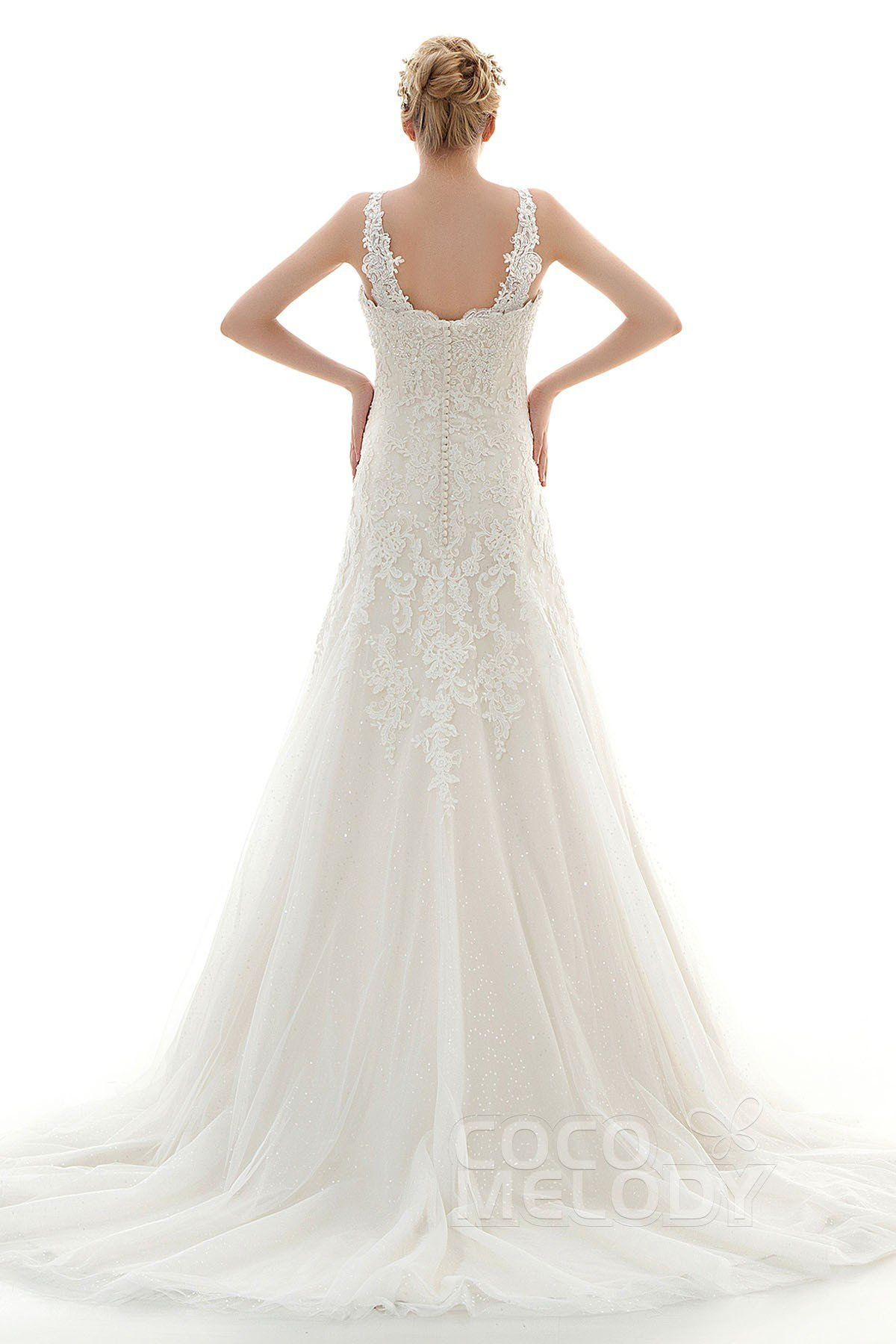 [ USD 699 ] SheathColumn Train Lace Tulle Wedding Dress