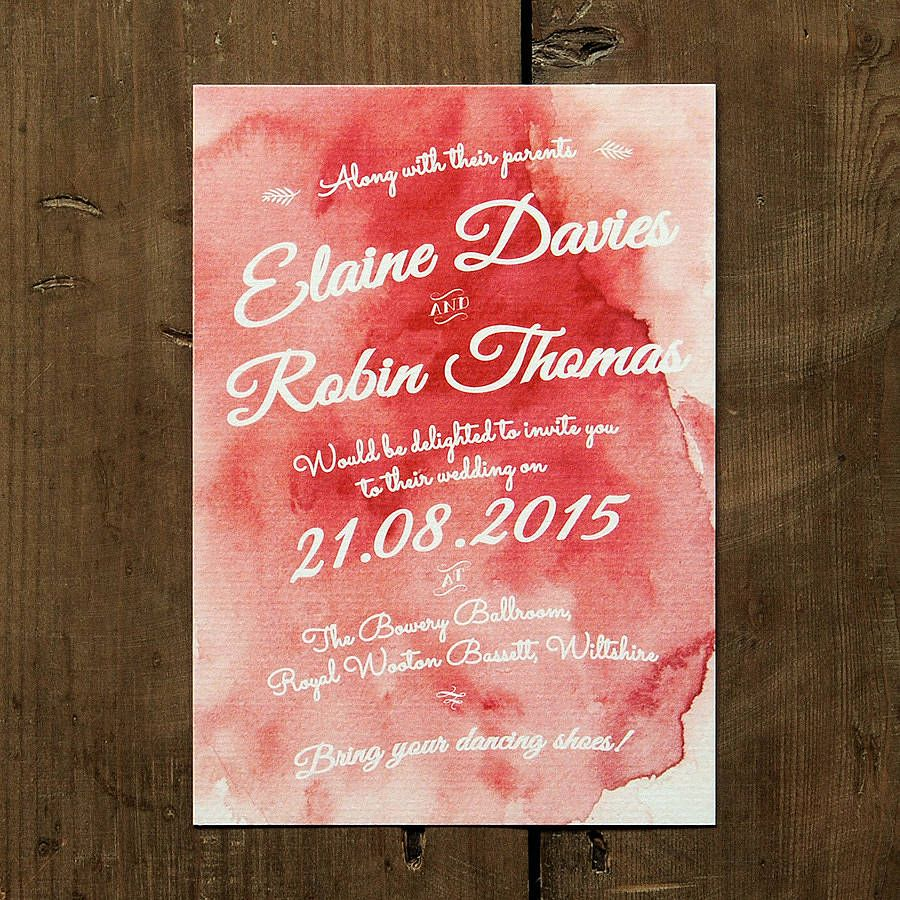 Watercolour Wedding Day Or Evening Invitation | Watercolor, Weddings ...