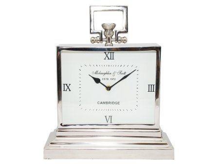 Mclaughlin Scott Clock Range Medium Rectangular Chrome Mantel Roman Numerals In Polished Battery Operated Not Included Dimensions L 15 X
