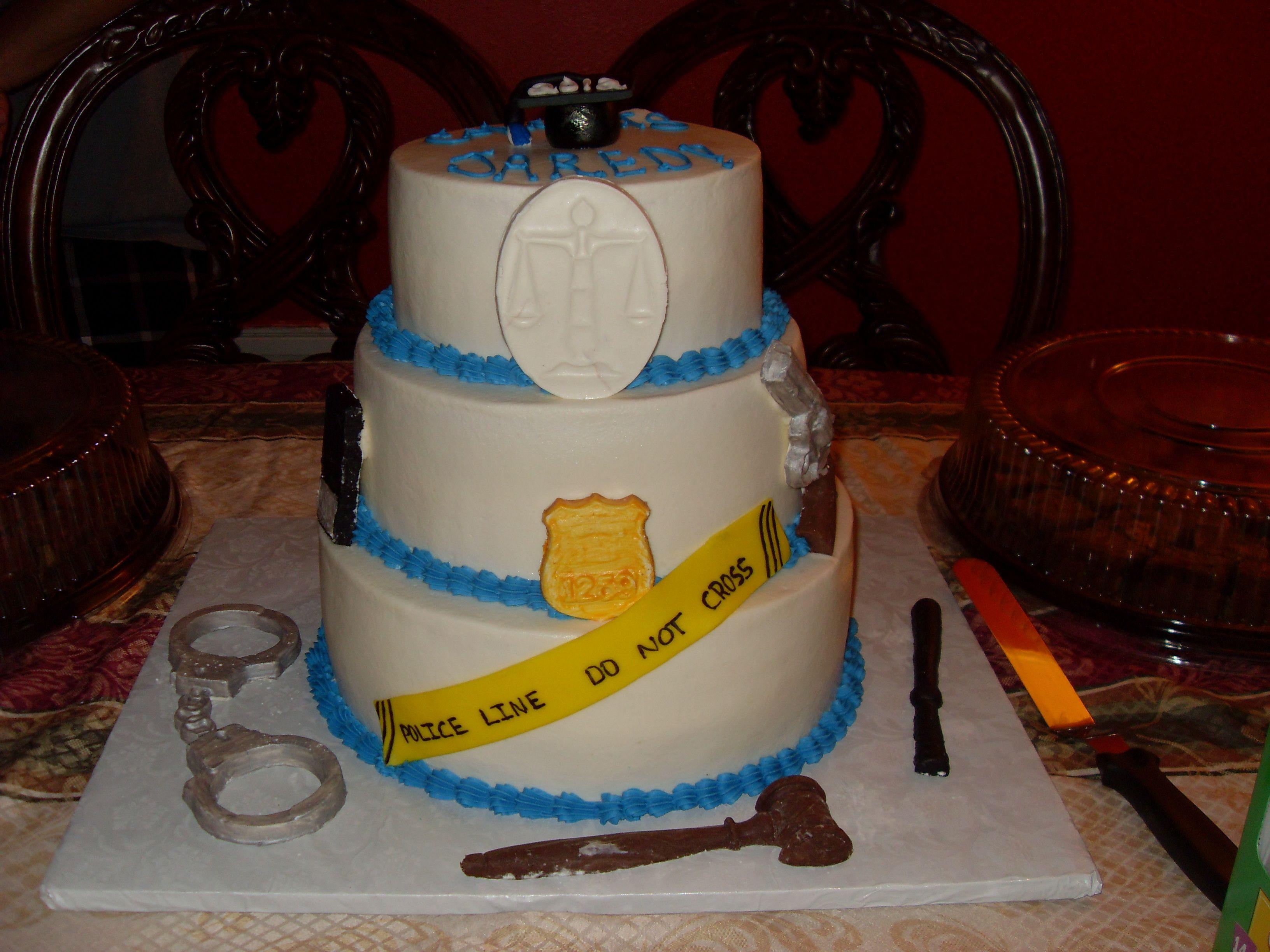 Grad Cake For Criminal Justice Major Graduation Tiered Cakes Birthday Cake Cupcake Cakes
