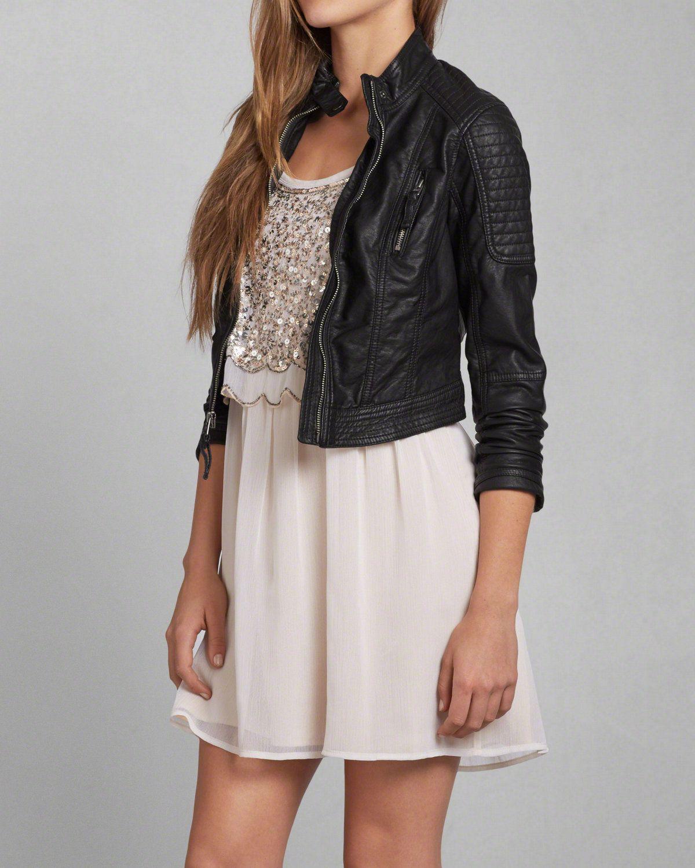 Womens Vegan Leather Cropped Moto Jacket Womens Sale