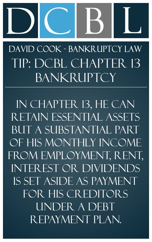 Chapter 13 Bankruptcy In Utah David M Cook Attorney Chapter 13 Chapter Debt Plan