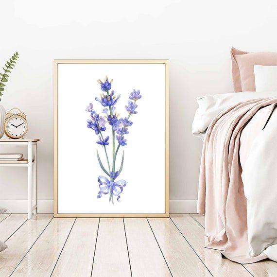 Watercolor lavender flowers art printable, digital Download, lavender bedroom artwork, lavender flowers wall art, lavender flowers print
