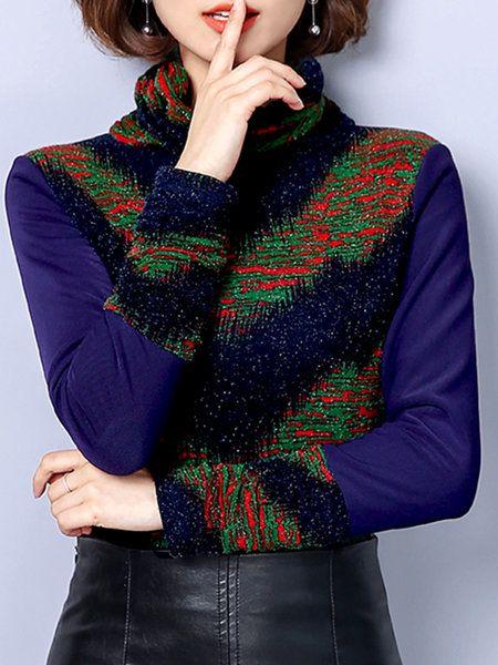 1f2c140fdd6118 Long Sleeved Tops - Paneled Elegant Long Sleeve Turtleneck Top  fashion   style  clothing  clothes  tops  elegant