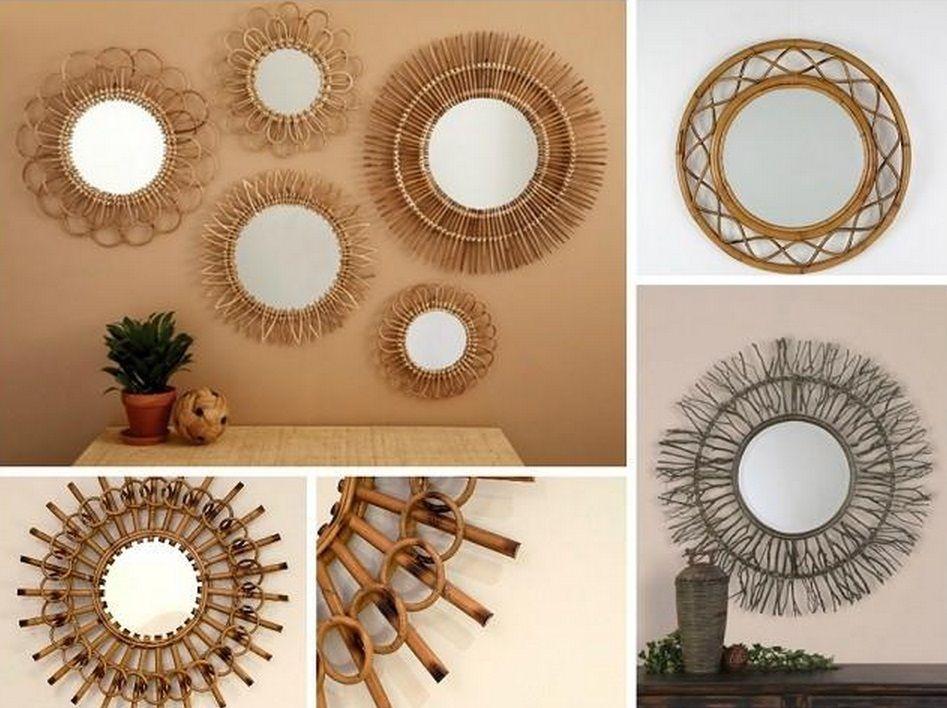 espejos de mimbre y ratán | Casa de campo | Pinterest | Mimbre ...