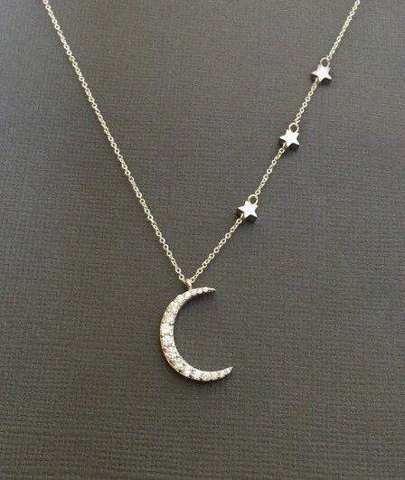 925 silver cz crescent moon and star necklace star necklace plata media luna luna collar de estrellas estrellas y luna aloadofball Gallery