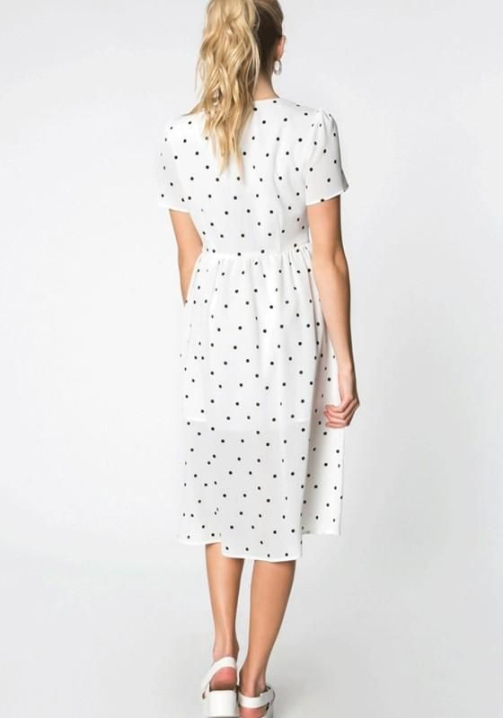 68a124a71918 White Polka Dot Knot Deep V-neck High Waisted Homecoming Party Elegant Midi  Dress