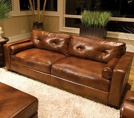 Elements Soho Leather Sofa In Rustic