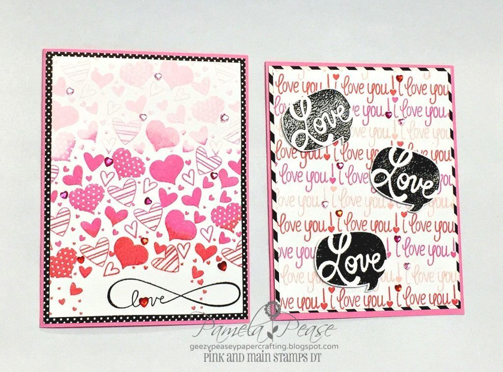Pink and Main Hearts Clear Photo Polymer Stamps