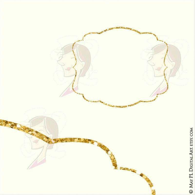 Glitter Gold Frame Clipart Sparkle Digital Frames And Borders ...