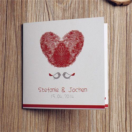 Schön Hochzeitseinladung Blätter | Voegelchen Fingerabdruck Herz Rot  Einladungskarten [OPL015]   U20ac0.00 .