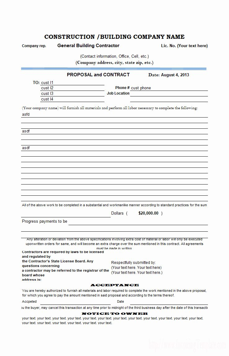 New Construction Bid form Template in 2020 Business