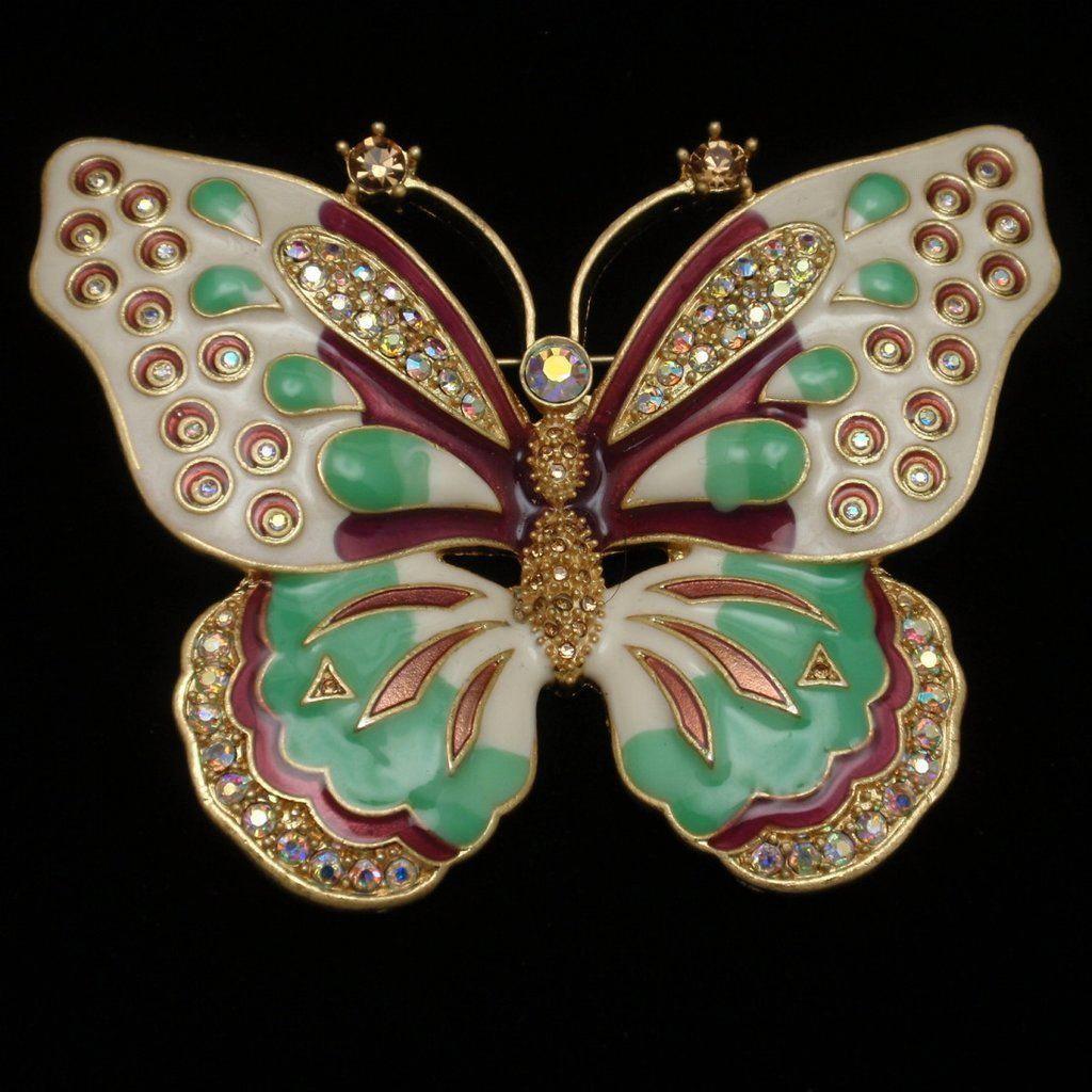 Butterfly Brooch Pin Enamel Rhinestones KJL Jay