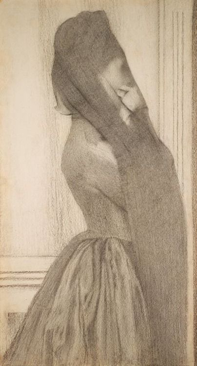 The Veil, Fernand Khnopff (1858-1921), 1887. Via.