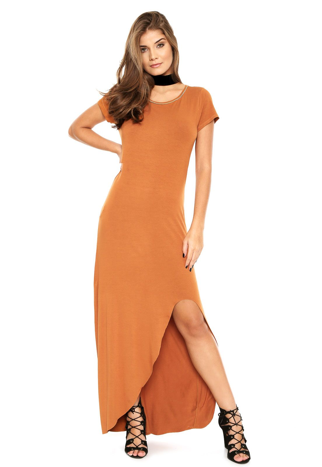 bac46c1ff Vestido dimy Longo Assimétrico Caramelo | vestidos casuais | Dresses ...