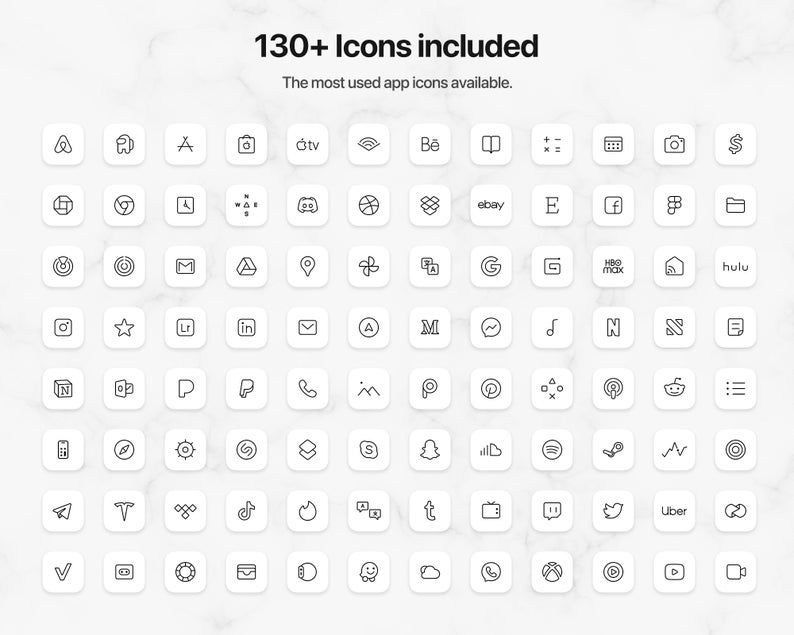 130+ White iOS 14 Icons | White Premium Icon Pack