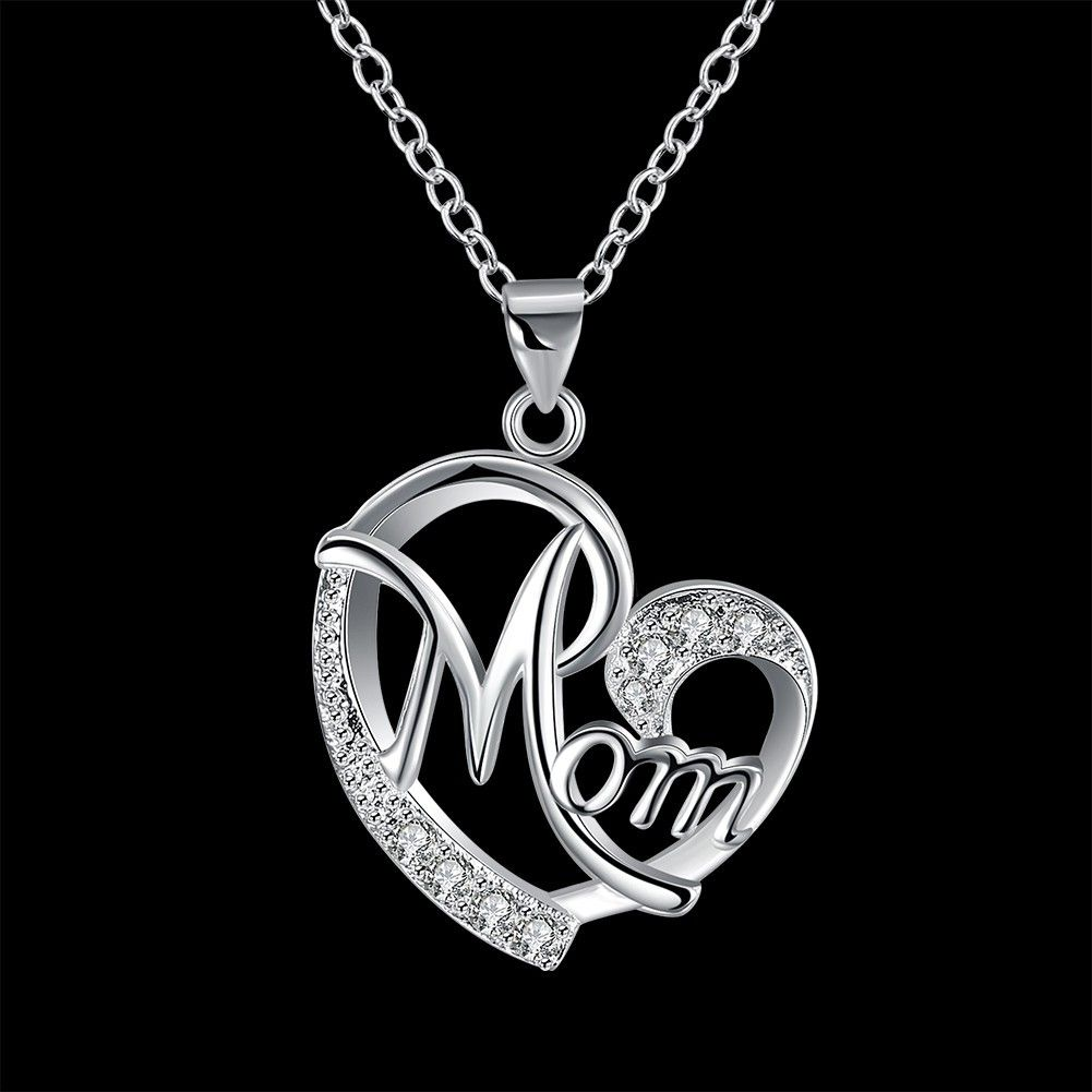 Kalung Love Bear Heart Shaped Diamond Pendant Necklace Jewelry Wholesalers Mothers 30300