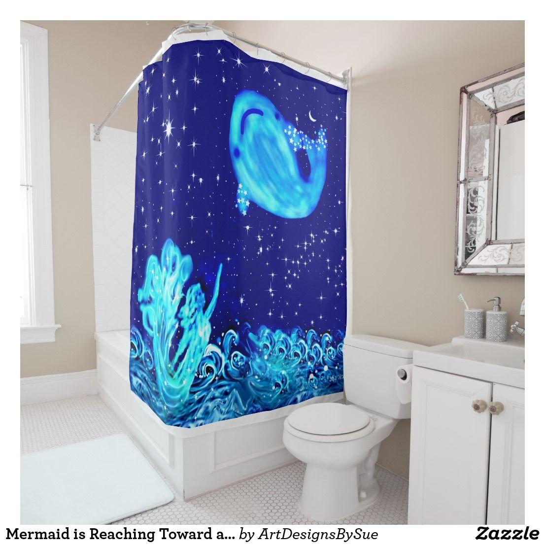 Mermaid Is Reaching Toward A Whale Shower Curtain Zazzle Com