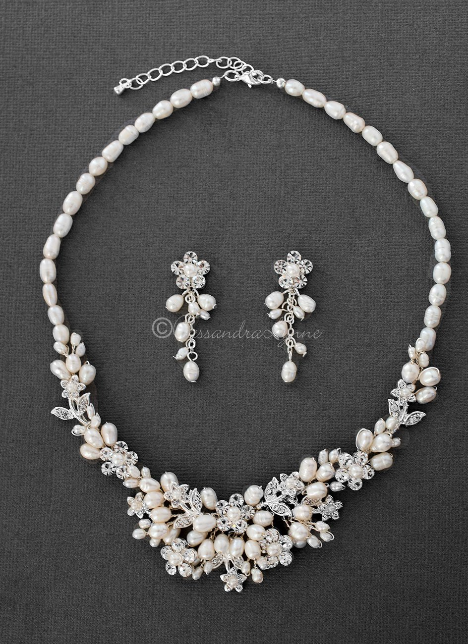 Crystal Flowers And Pearls Wedding Necklace Set Wedding Accessories Jewelry Wedding Necklace Set Pearl Necklace Wedding