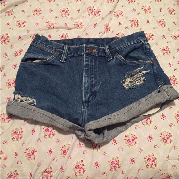 Handmade Wrangler High Waisted Jean Shorts Size 30 by 30, only worn once! Bought from a local vendor ✌️ Wrangler Shorts Jean Shorts