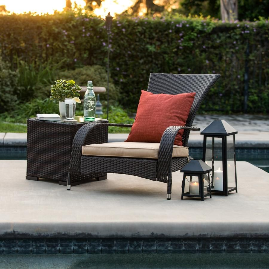 Outdoor All Weather Steel Frame Wicker Adirondack Chair W Cushions Beige Outdoor Outdoor Furniture Sets Patio