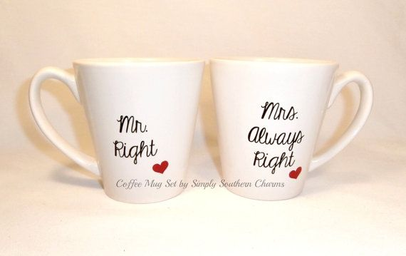 2 Wedding Glasses Mr Right and Mrs Always Right Ceramic Coffee