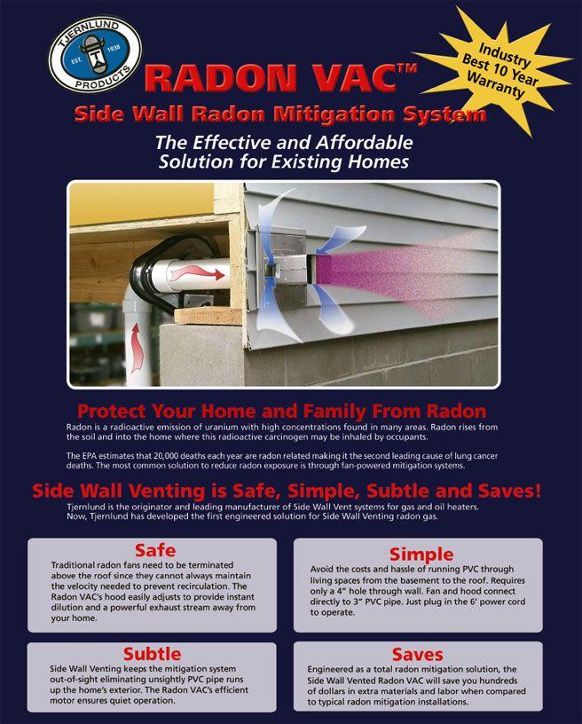 Radon Vac Side Wall Radon Mitigation System Radon Mitigation Radon Radon Mitigation Diy