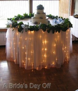 Icicle Lights Under Organza And Over White Tablecloth