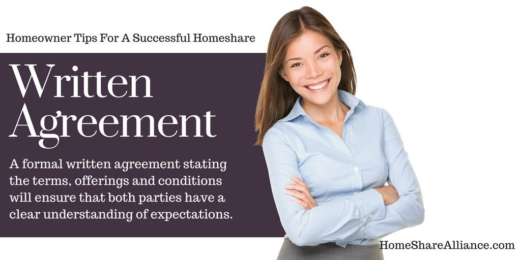 Homeowner Tips For A Successful Homeshare WRITTEN AGREEMENT A