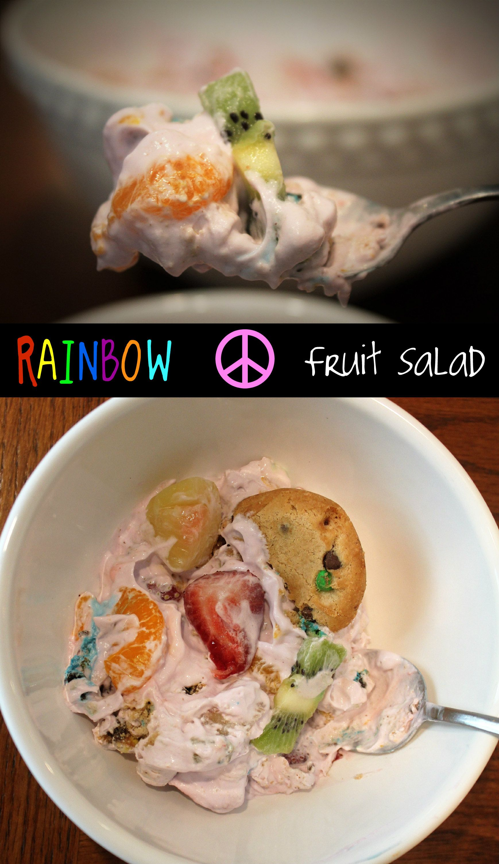 Rainbow Peace Fruit Salad #cookiesalad