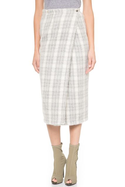 #refinery29 | Yigal Azrouël Windowpane Plaid Wrap Skirt, sale $207, available at Shopbop.