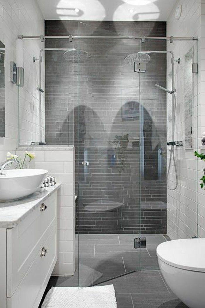 faire une douche à l italienne, salle de bain grise meubles blancs - Salle De Bain Moderne Grise