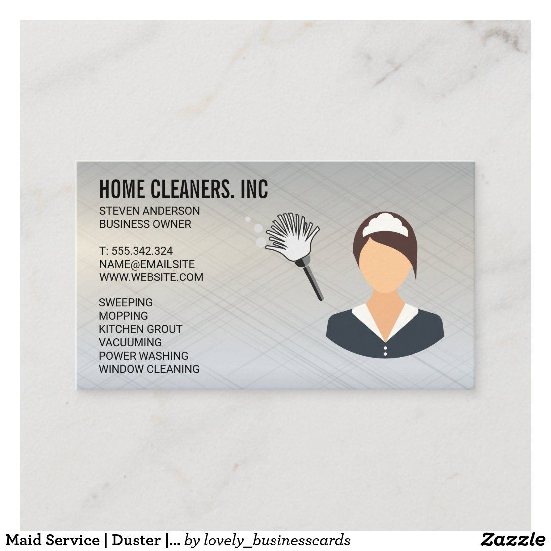 Maid Service Duster House Keeping Metallic Business Card Zazzle Com In 2021 Cleaning Maid Maid Service Custom Holiday Card