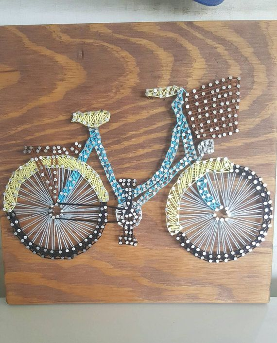 string art bicycle home decor, bicycle decor, string art, bikes