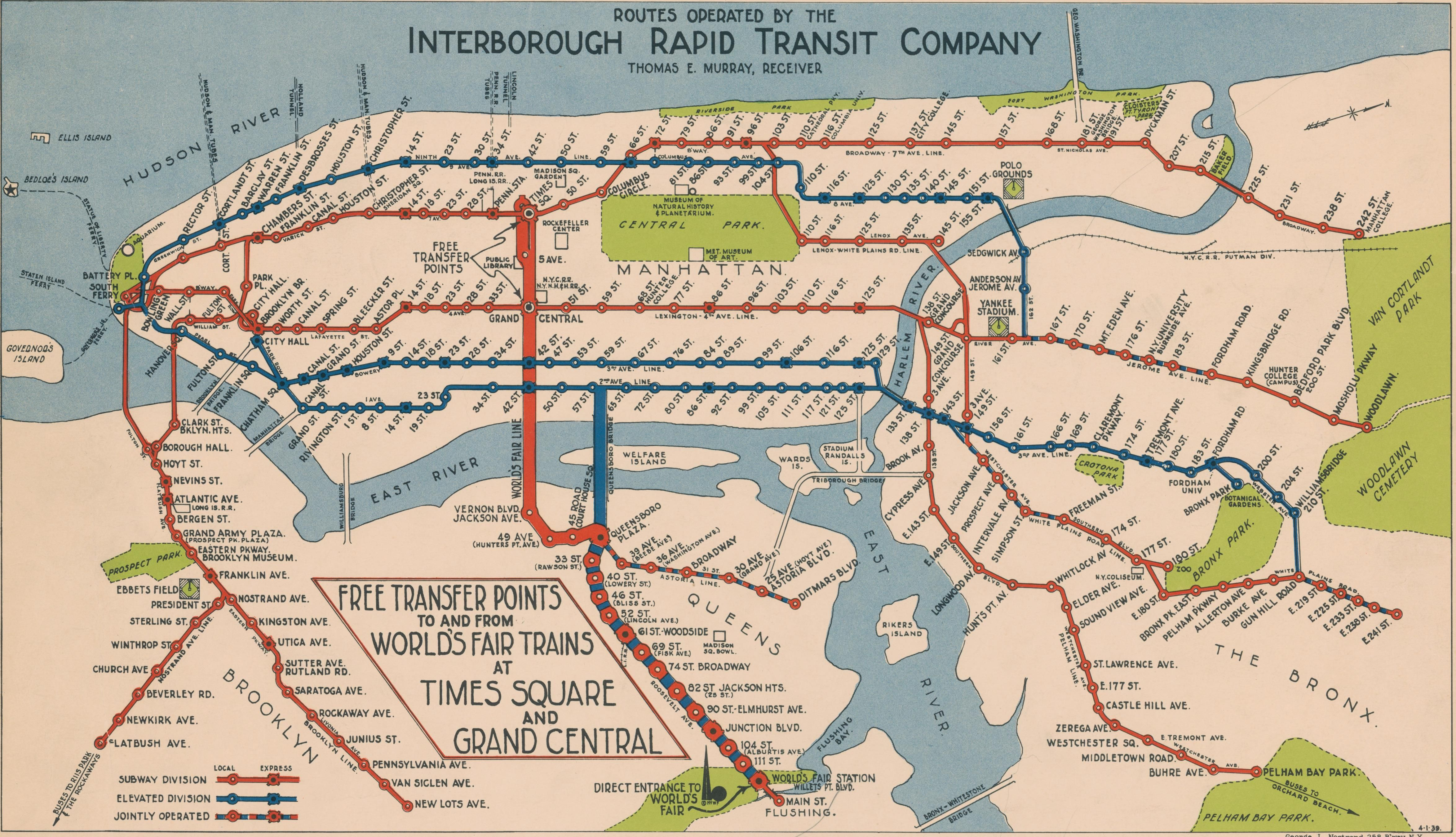 1940 Nyc Subway Map.Navigating New York 1939 Nyc Subway Map Issued By The Interborough