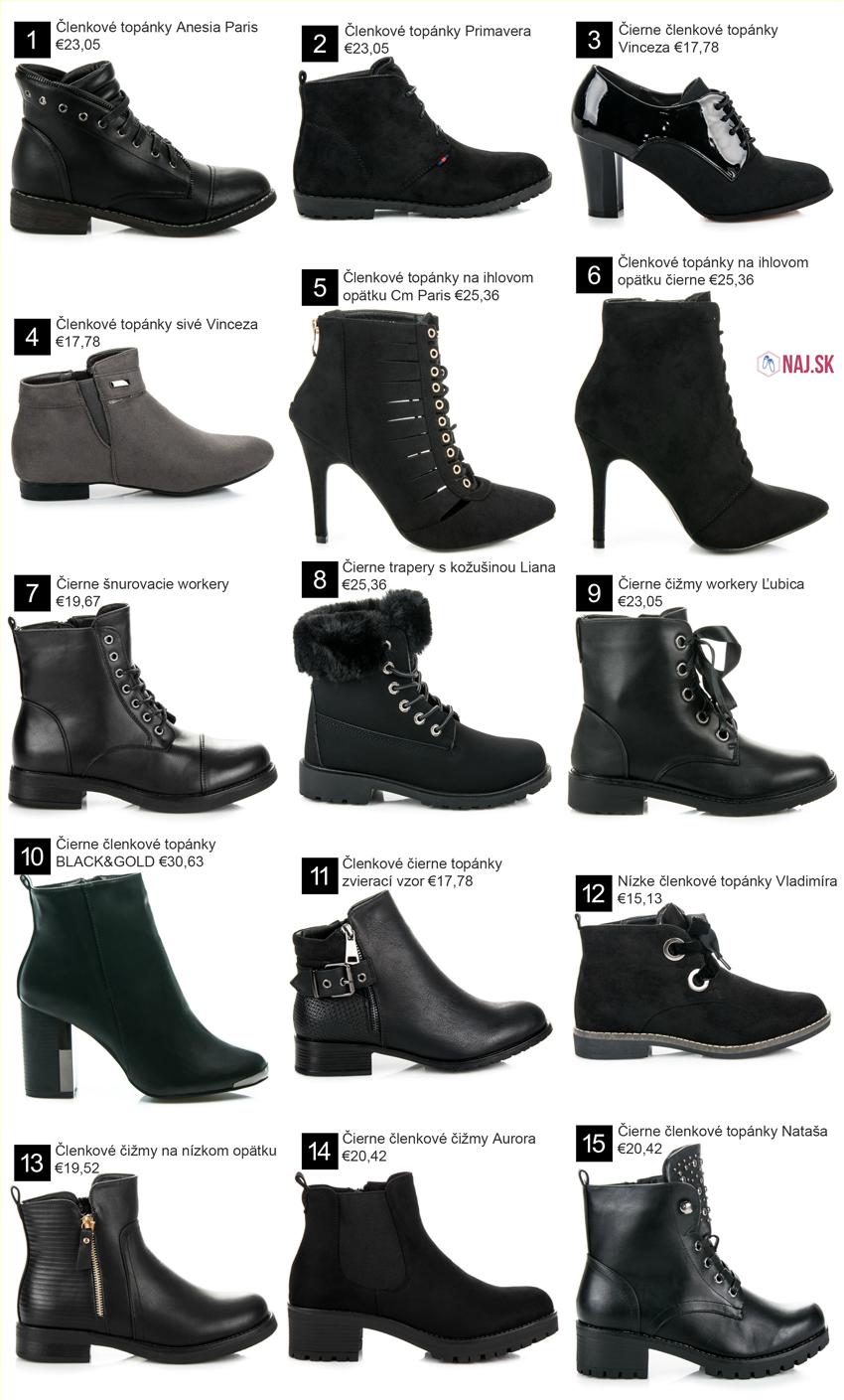 91d3b6c39 Čierne šnurovacie workery BZ8385B, Čierne trapery s kožušinou Liana, Čierne členkové  topánky BLACK&GOLD,