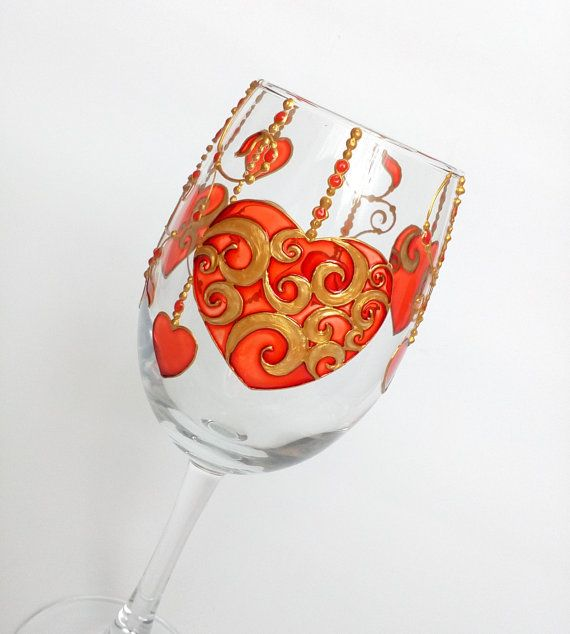 807f1794f21 Heart hand painted wine glass, red personalized wine glass, gift for her,  wedding wine glasses, Birt