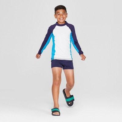 52956a8962e4e Boys' Long Sleeve Rash Guard - Cat & Jack White S | Products | Swim ...