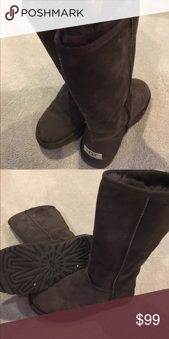 Uggs women's boots classic tall chocolate 6 Worn twice, 100% authentic chocolate brown classic tall ugg boots. UGG Shoes Winter & Rain Boots