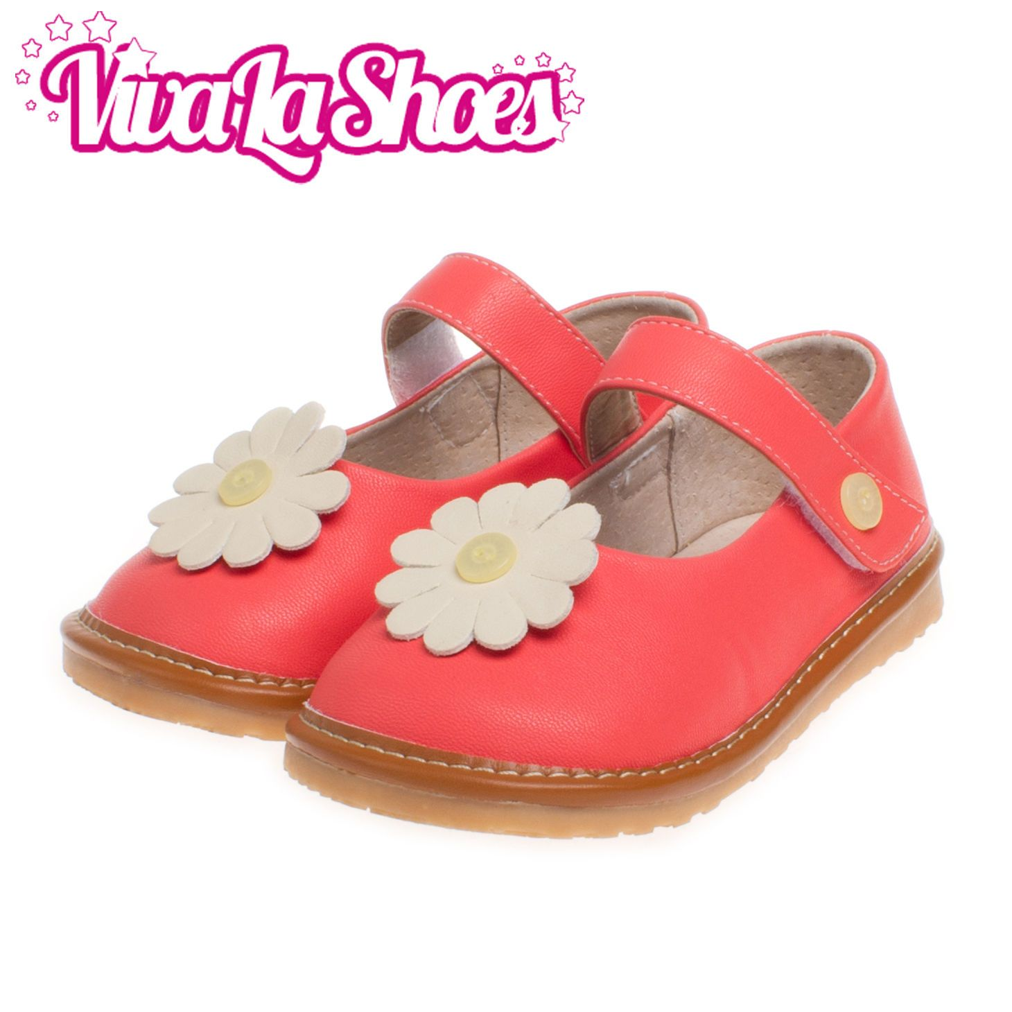 Girls Infant Toddler Leather Squeaky Shoes Red With White Flower