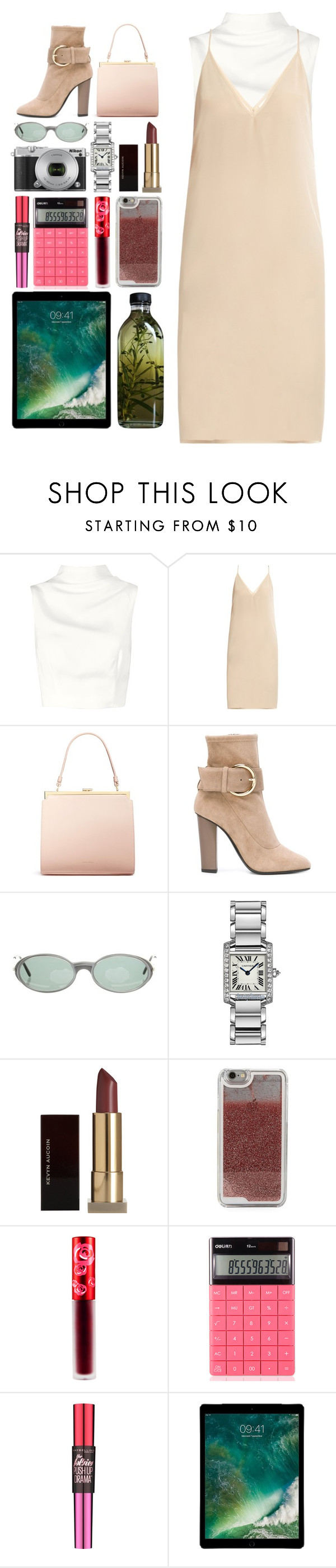 """""""5.177"""" by katrina-yeow ❤ liked on Polyvore featuring Keepsake the Label, Raey, Mansur Gavriel, Giuseppe Zanotti, Cartier, Nikon, Kevyn Aucoin, LMNT, Lime Crime and Maybelline"""