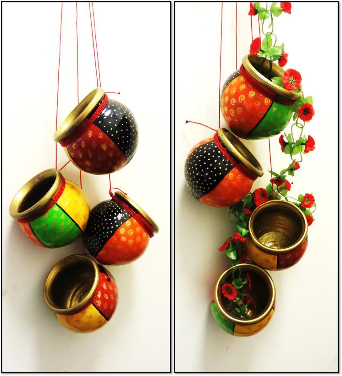 Hand Painted Terracotta Hanging Set Of 4 For Home Decor Versatilidade Pinterest