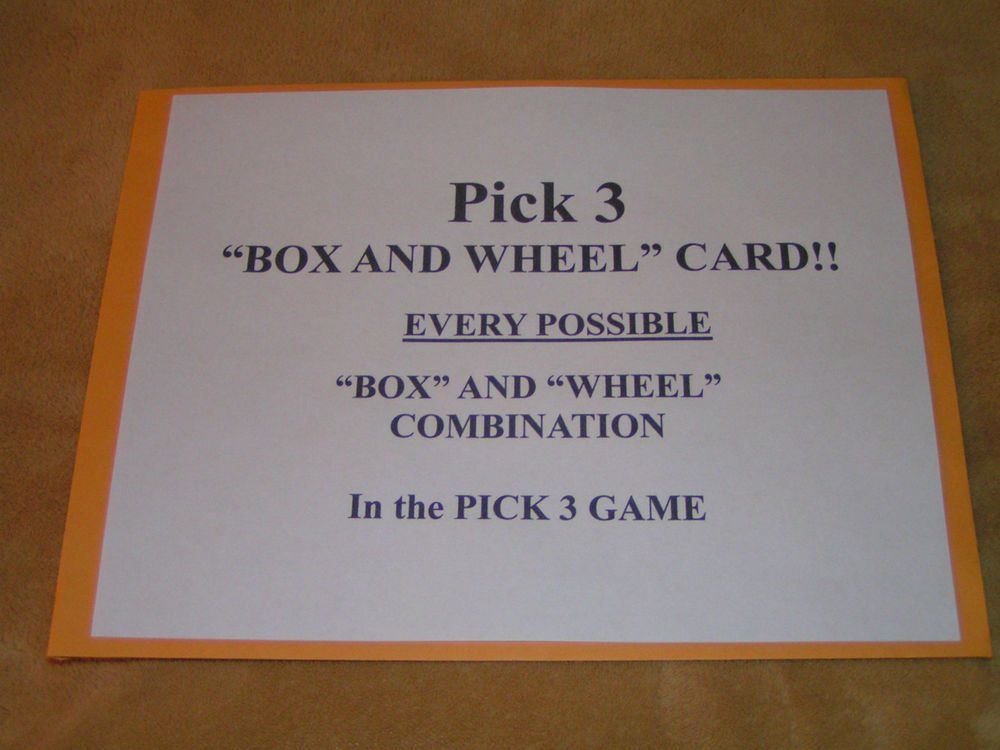 Lottery system pick 3 box and wheel card every possible